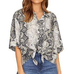NWT Sanctuary drop sleeve snake skin button up